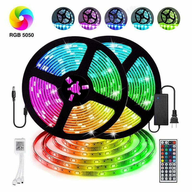 12v Led Light Strip 5m 10m 15m 16 4ft 32 8ft 49 2ft 5050 Rgb Led Tape Lights Rgb Rope Lights 16 Milions Colors Flexible Changing Led Strip Lights With Remote Fo In 2020 Led Tape Lighting Led