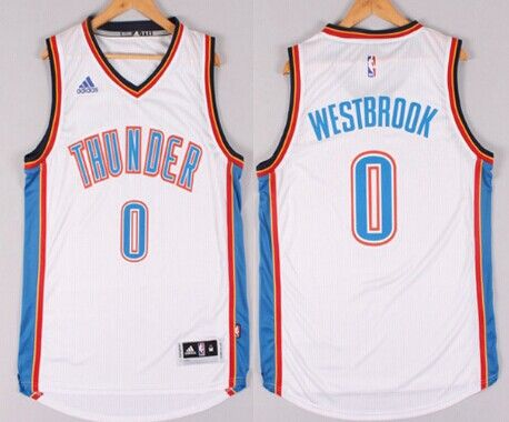 aab989a84952 Oklahoma City Thunder  0 Russell Westbrook Revolution 30 Swingman 2014 New  White Jersey