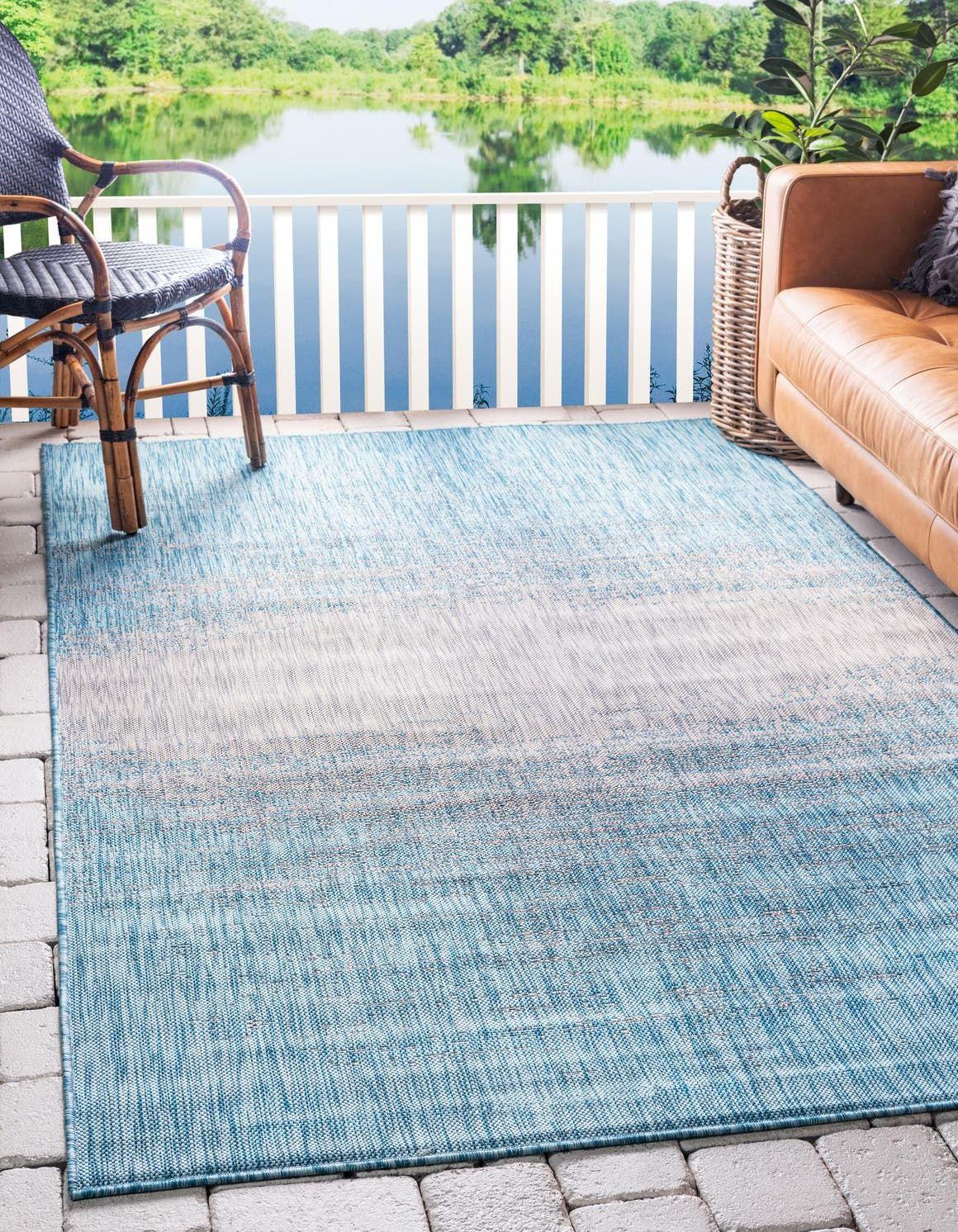 Outdoor Modern Light Aqua 4x6 Area Rug Indoor Outdoor Rug Modern Outdoor Outdoor Rugs Unique Loom