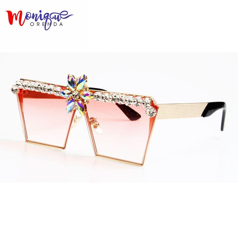 8a38be65605 MONIQUE New Fashion Women Sunglasses Luxury Rhinestone Oversize Sunlgasses  UV400 Gradient Vintage eyeglasses frames for Women