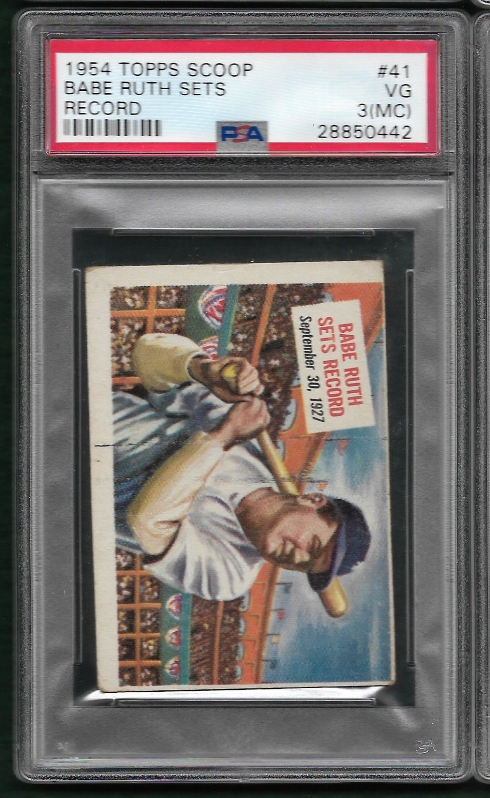 1954 topps scoop 41 babe ruth sets record psa 3 mc