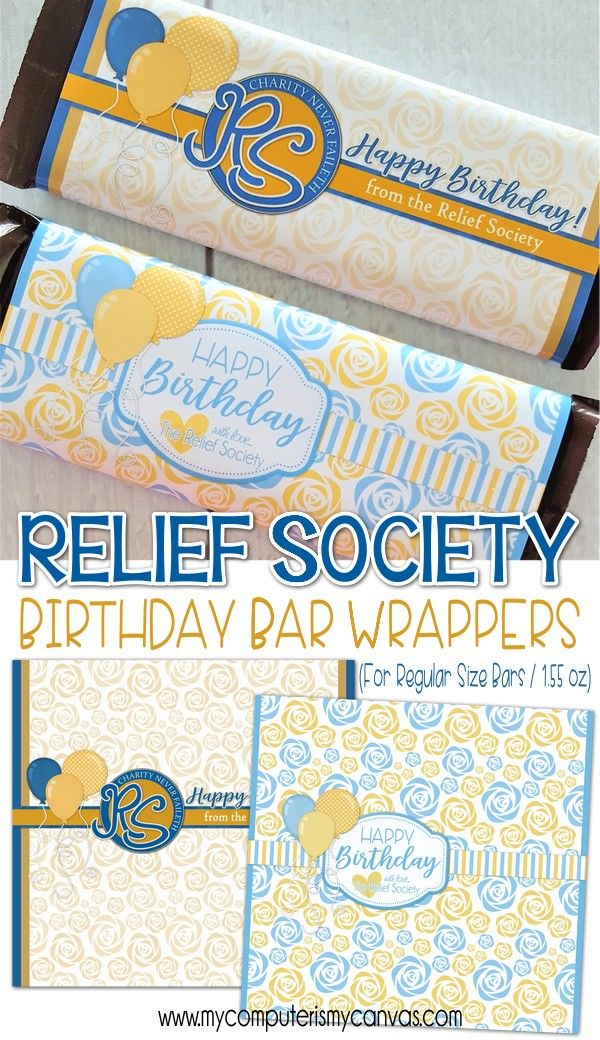 Relief Society Birthday Gift Idea RS Printables Happy Candy Wrapper Chocolate Bar Lds Mycomputerismycanvas