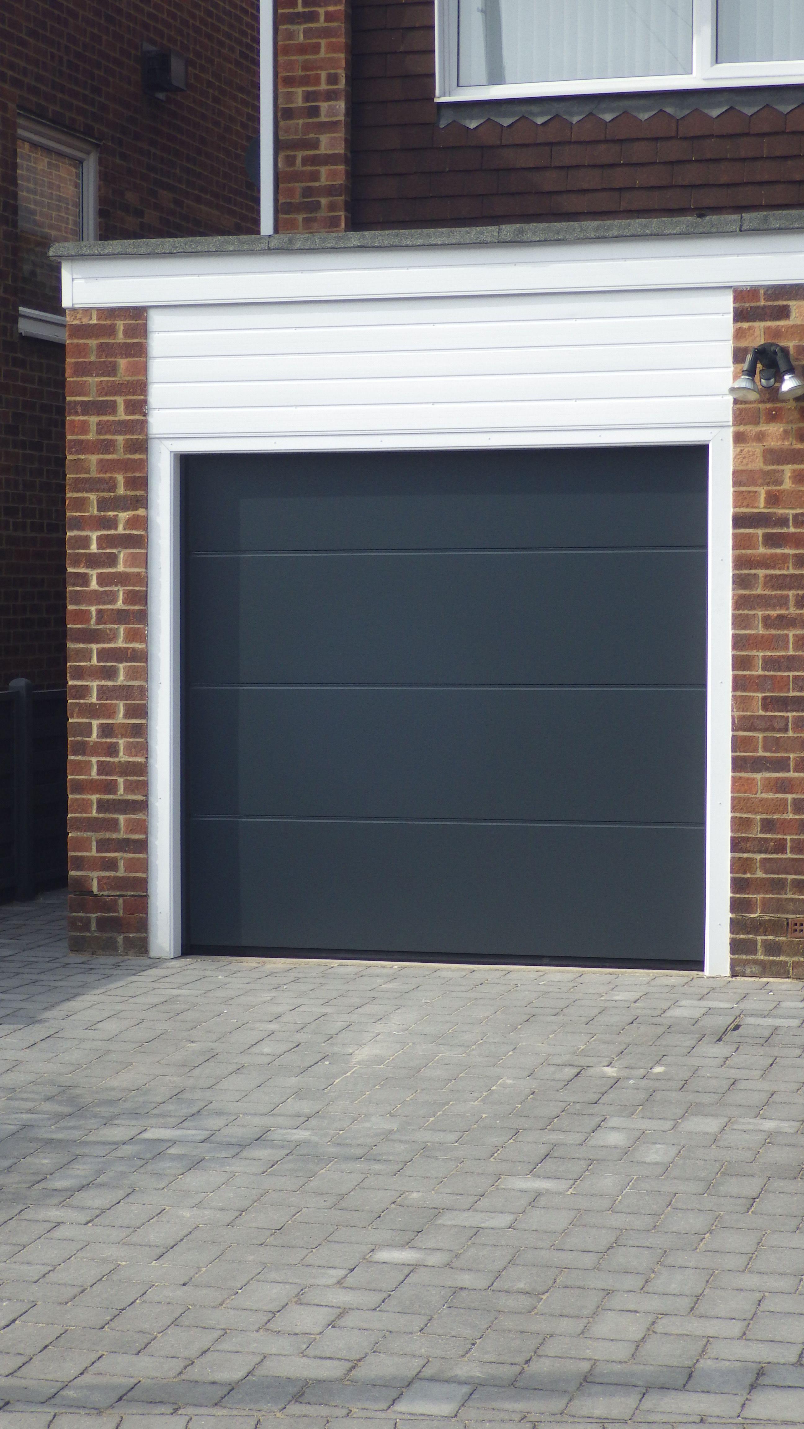 Hormann Sectional L Ribbed Garage Door In Anthracite Grey Garage