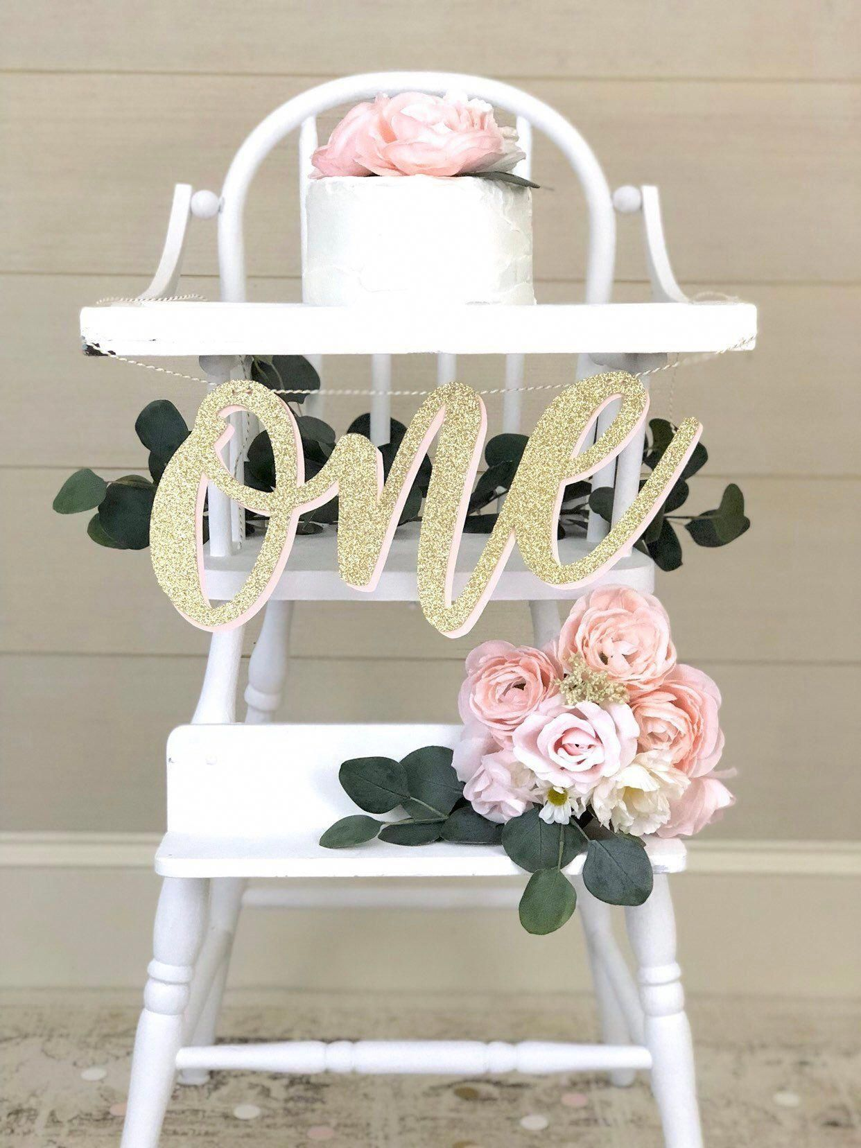 WILD ONE High Chair Banner| Girl 1st Birthday Party| Pink and Gold Color Theme| ONE Cake Topper and Glitter Gold Birthday Decorations