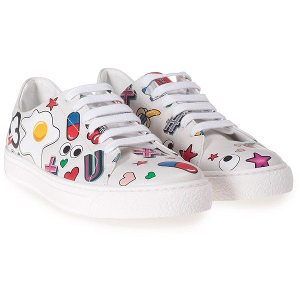 new arrival d8c04 7d2d2 Anya Hindmarch All Over Stickers Leather Low-Top Sneakers ( 395) ❤ liked on
