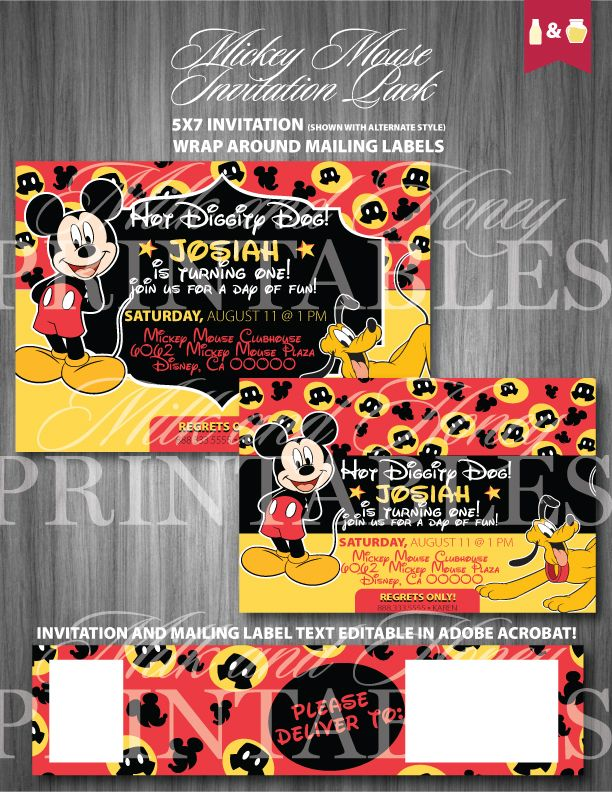 bday party invitation mail%0A Mickey Mouse Party Invitation