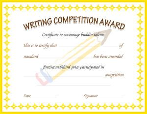 Writing Competition Award Certificate Template For MS Word DOWNLOAD At  Http://certificatesinn.  Online Certificates Templates