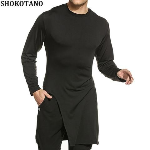 7e9743ede8b SHOKOTANO 100% Cotton T Shirt Men Solid Black Long Sleeve tshirt Hip Hop  Streetwear Longline