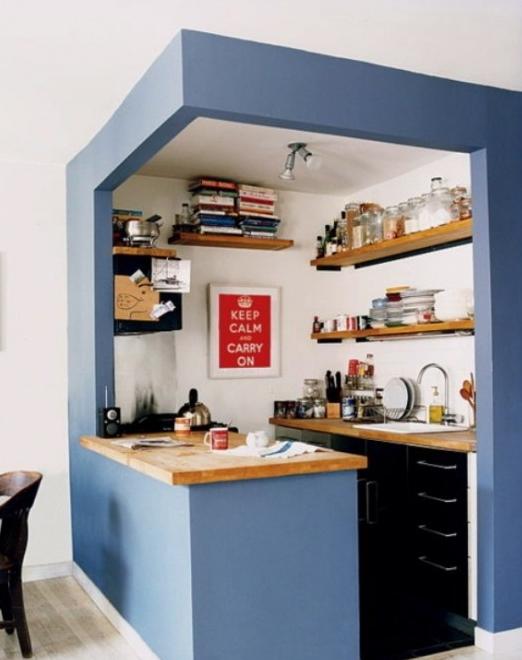 狭いキッチンのおしゃれなレイアウト実例画像 スペース活用術