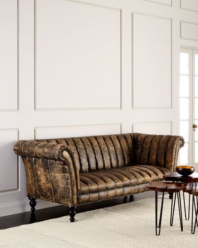Old Hickory Tannery Safari Channel Tufted Leather Sofa Leather Sofa Furniture Tufted Leather Sofa Tufted Leather