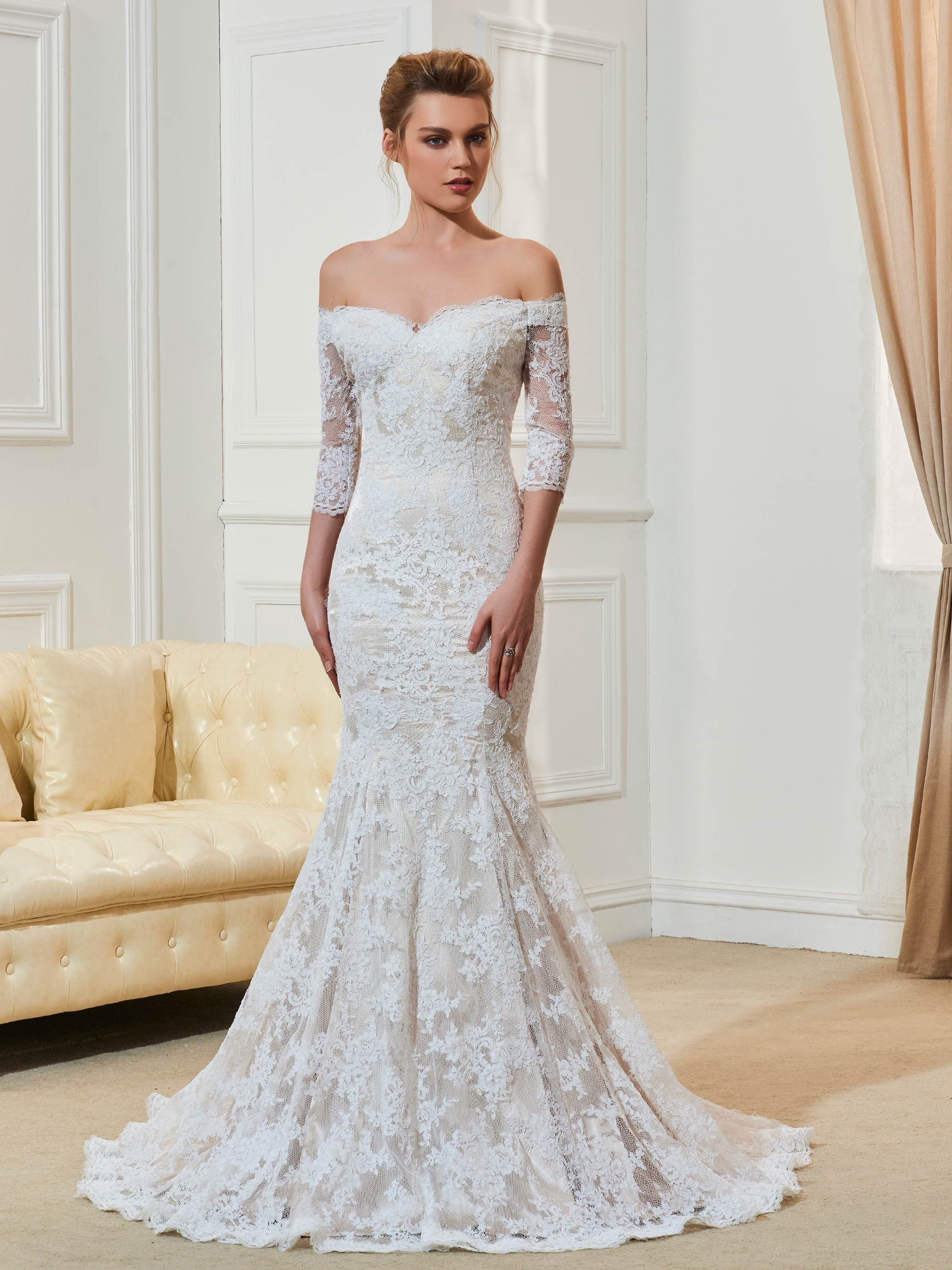 Off the shoulder half sleeve lace mermaid wedding dress bridal