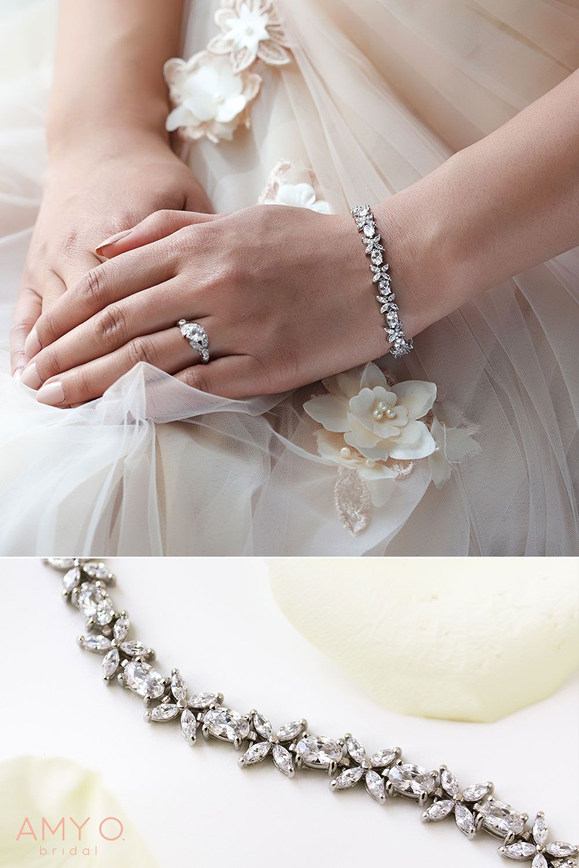 Fleur Daisy Eternity Tennis Bracelets Bridal Accessories Jewelry Crystal Bridal Bracelet Wedding Jewelry Sets