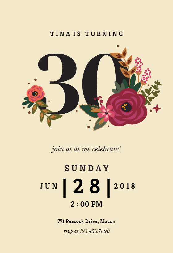 Botanical Milestone 30 Birthday Invitation Template Free Greetings Island 30th Birthday Invitations Birthday Invitation Templates 30th Birthday Party Invitations