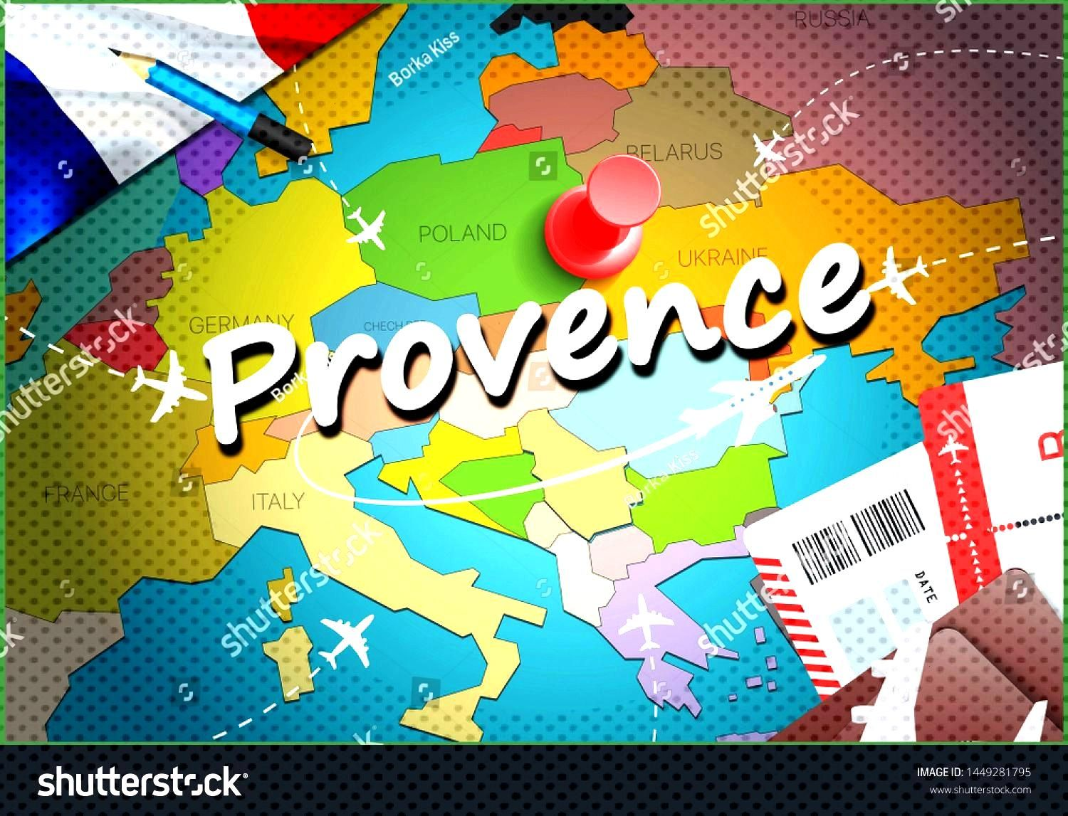 Provence city travel and tourism destination concept. France flag and Provence city on map. France