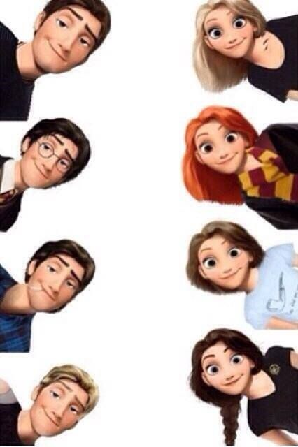 Tobias and Tris, Harry and Ginny, Augustus and Hazel, and Peeta and Katniss. Whoever made this is awesome!