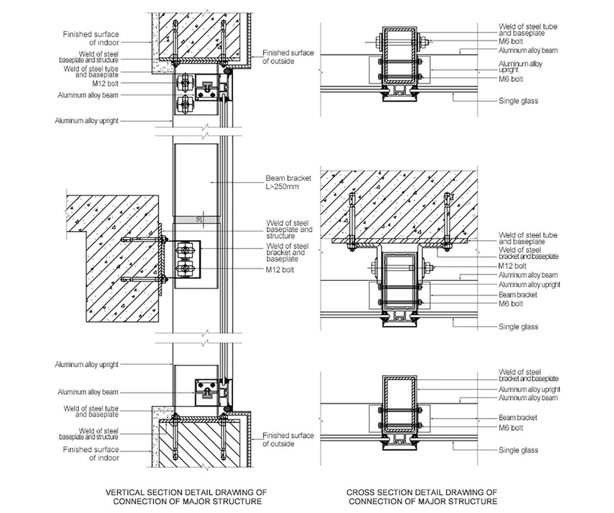 New Design Decorative Exposed Frame Curtain Wall Prance Glass Curtain Wall Wall Section Detail Curtain Wall Detail