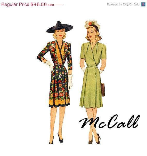 50% DE DESCUENTO 1940 Sobrepelliz blusa vestido Patrón McCall 5089 ...