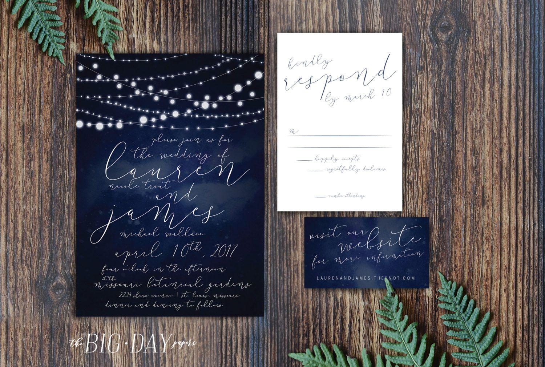wedding invitation rsvp wording funny%0A Midnight Stars String Lights Wedding Invitation Suite  u     We customize it   You print it  u     Wedding Invitation Romantic RSVP Postcard Suite