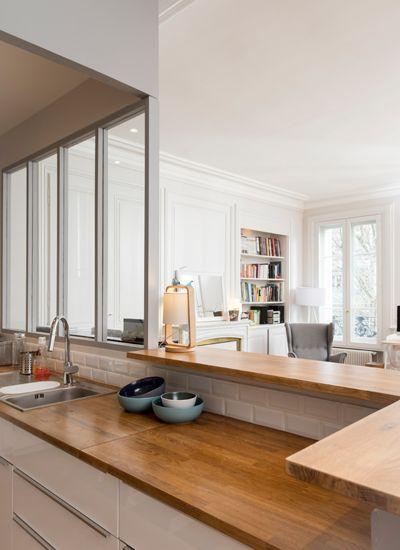 Un appartement traversant - Marion Lanoë, Architecte d\u0027intérieur et - amenagement placard d angle cuisine