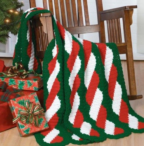 W673 Crochet Pattern Only Peppermint Twist Afghan Throw Christmas