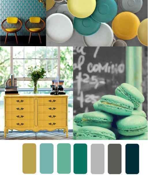 tonos azulosos el mostaza y la gama de grises conforman una paleta de color armoniosa