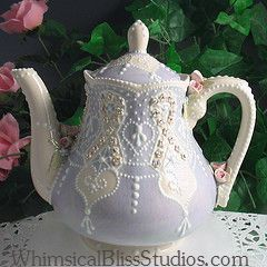 Whimsical Bliss Studios - Teapot I made for a cancer fundraiser in honor of my mom.