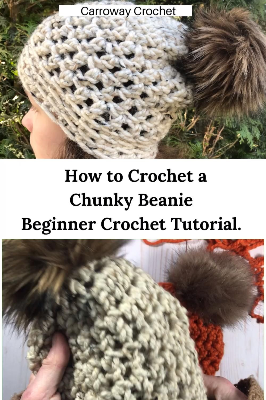 How to Crochet a beginner chunky beanie. Easy crochet hat tutorial. - YouTube