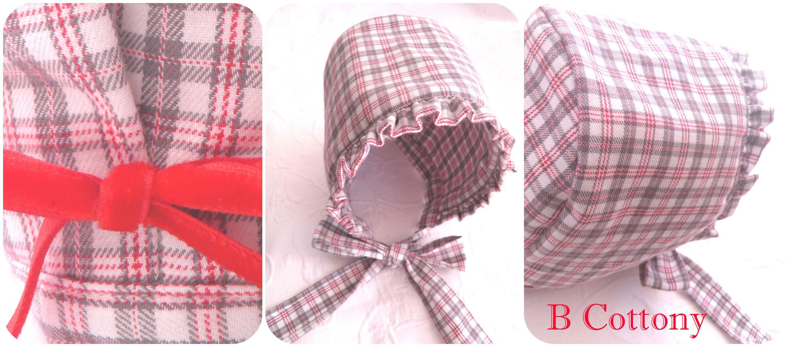 Touca em xadrez encarnado / cinzento com lacinho em veludo encarnado - Plaid red / gray cap with red velvet bow