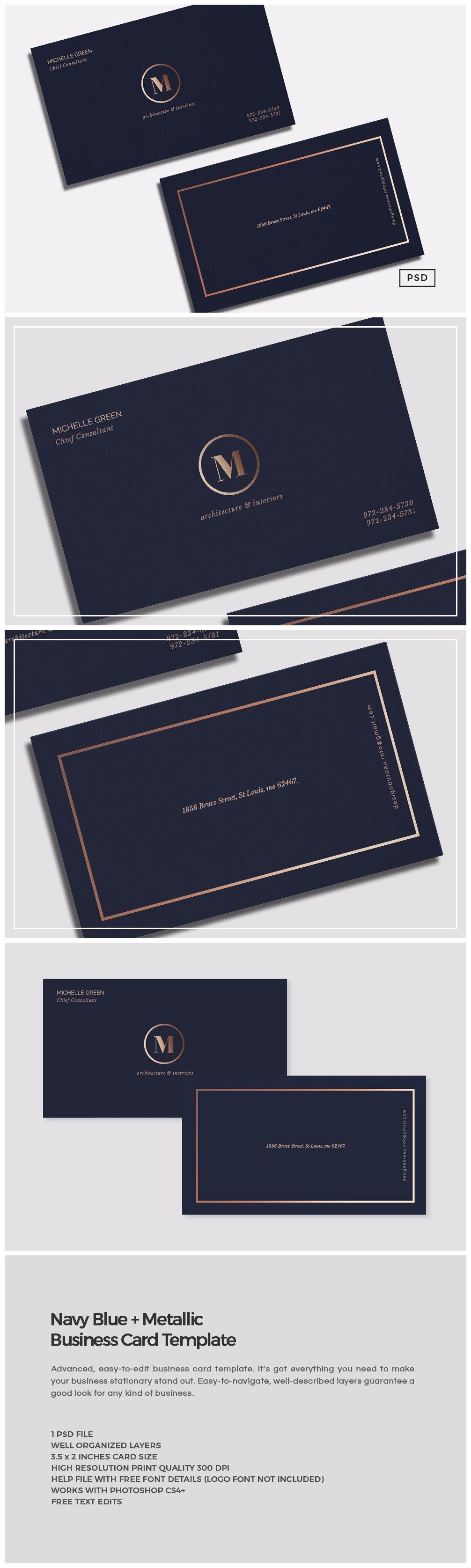 Navy Blue Metallic Business Card In 2020 Business Card Template Professional Business Cards Logo Design Template