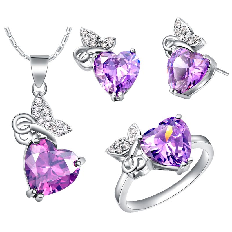 Beydodo Butterfly Necklace 925 Sterling Silver Heart and Butterfly Pendant with Crystal Necklace for Wedding Party