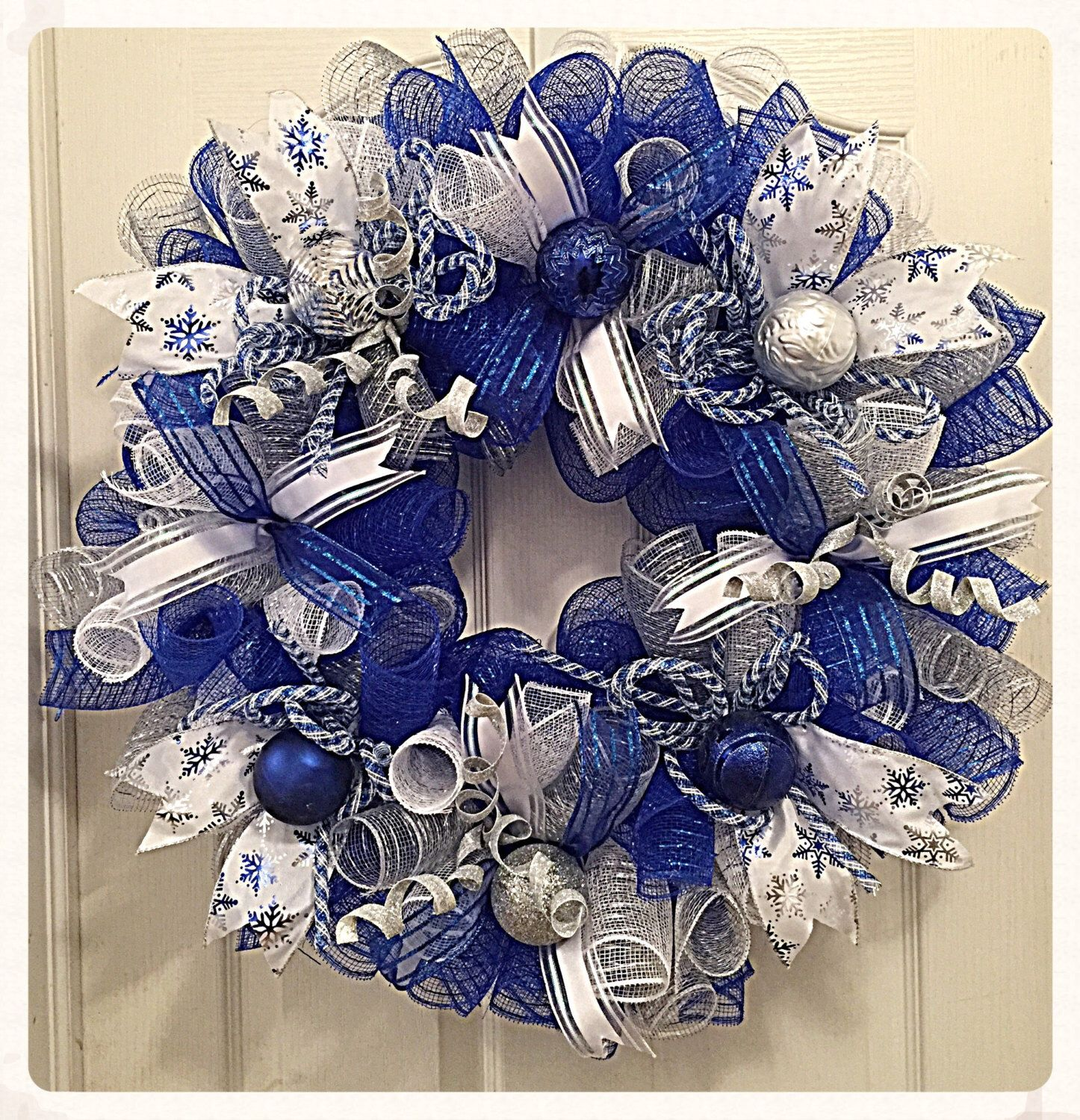 Christmas Blue And Silver Deco Mesh Wreath Blue And Silver Etsy Deco Mesh Christmas Wreaths Christmas Mesh Wreaths Silver Christmas Decorations