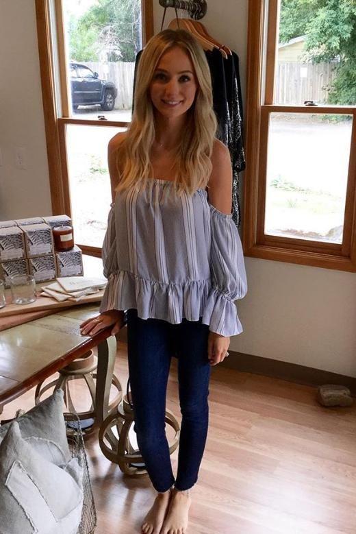 e965913841402 Lauren Bushnell wearing Misa Los Angeles Brigit Off the Shoulder Top More