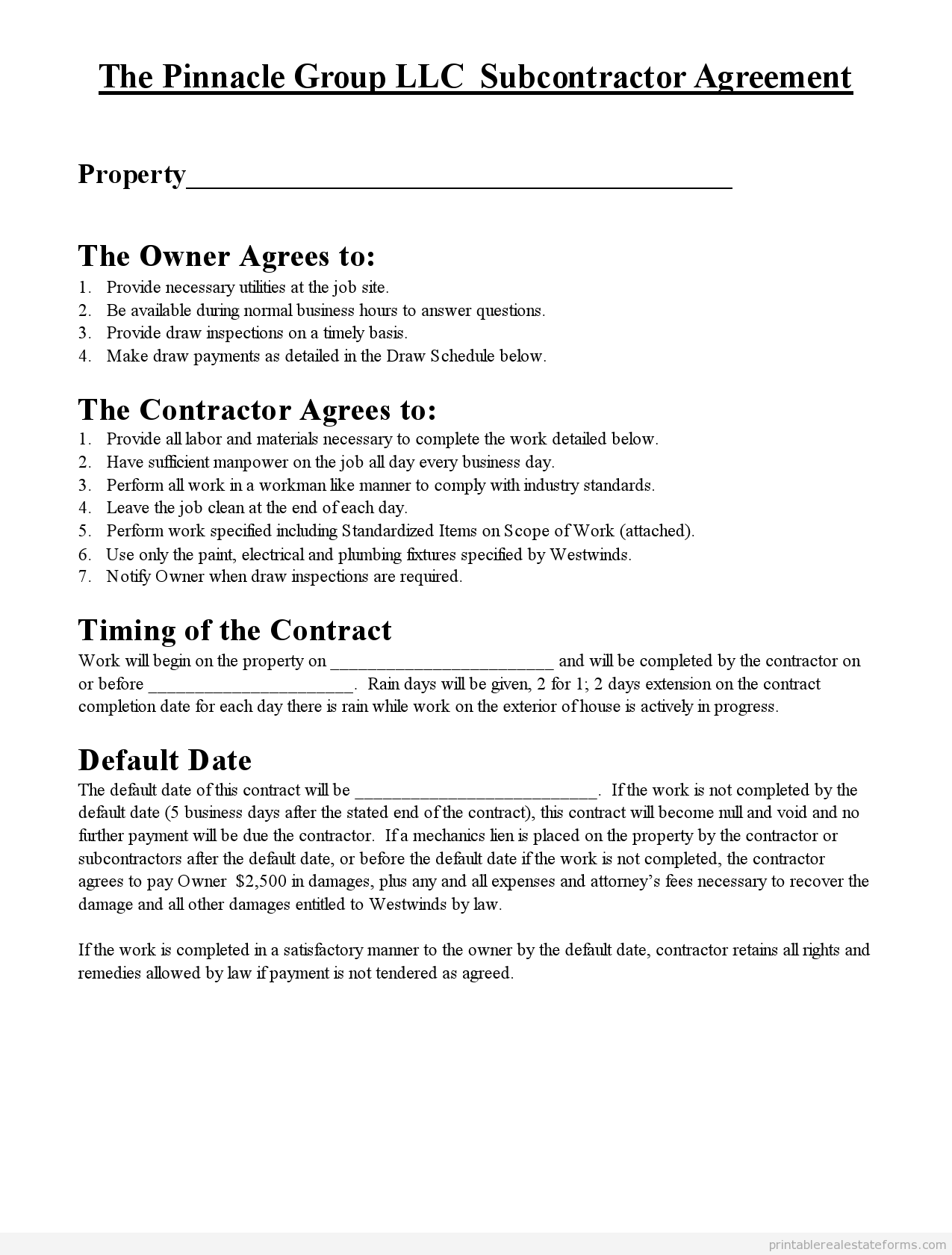 Free Printable subcontractor agreement Form | Printable Real Estate ...