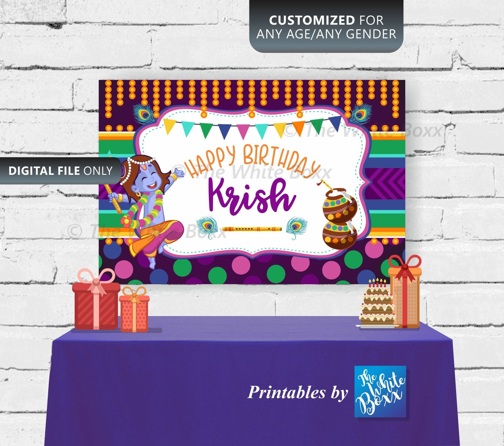 Krishna Birthday Banner Backdrop For Birthday Boy Krishna Birthday Birthday Banner Banner Backdrop