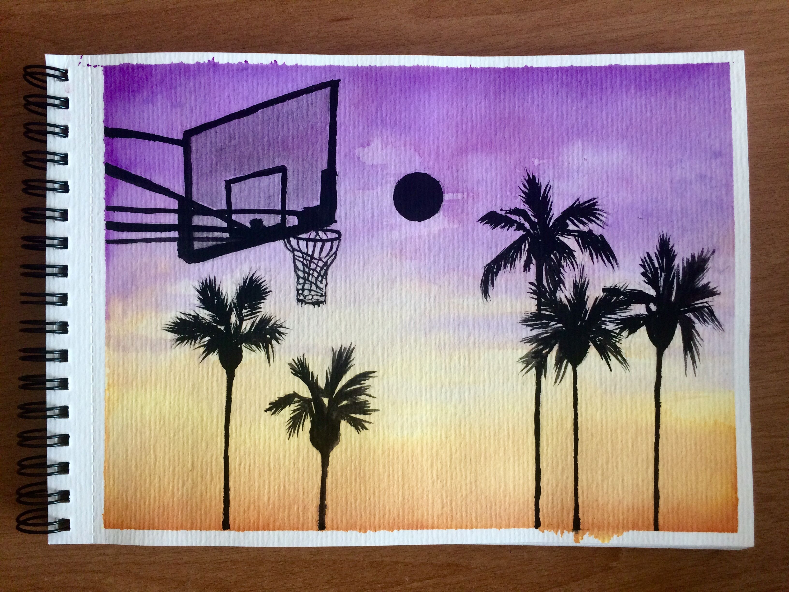 Watercolor Basketball Watercolorpalmtrees Basketball Canvas Painting Painting Art Projects Basketball Painting