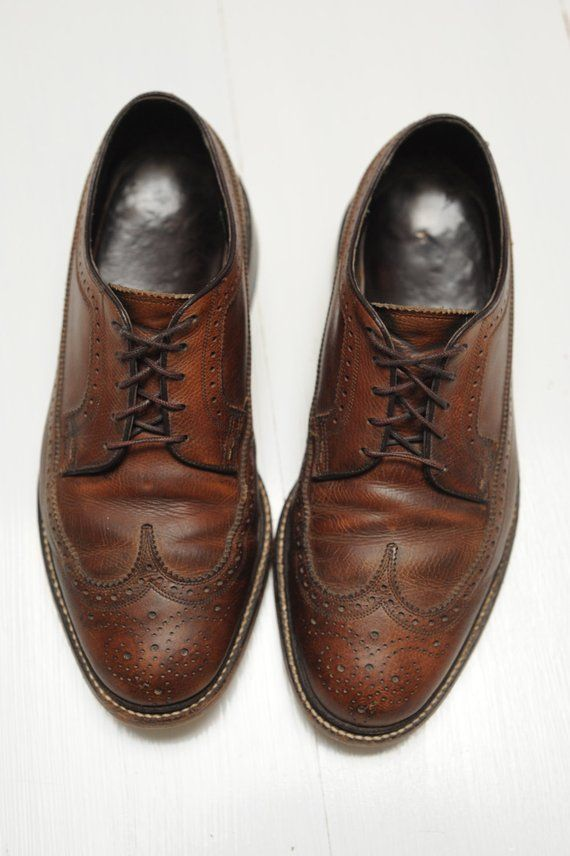 edcfc043a4caf Vintage Florsheim Imperial Brown Leather Wingtip Oxford Shoes, Made ...