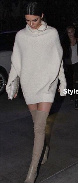 7fd4082a640 Kendall Jenner sweater dress and boots