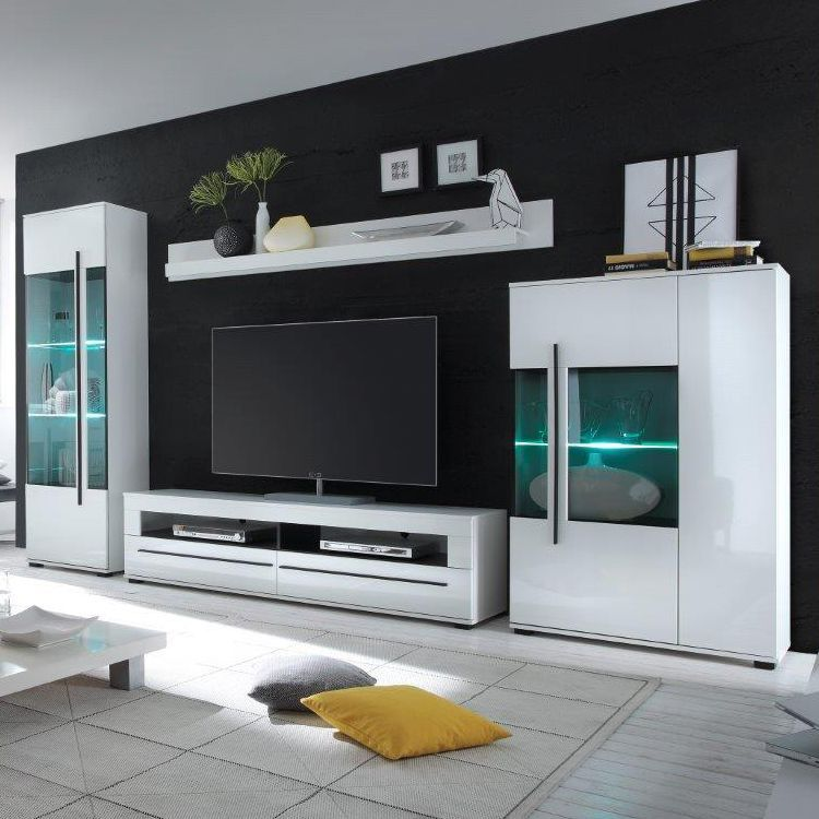 Wohnwand Farson (4-teilig) - Hochglanz Weiß   Weiß, roomscape - wohnzimmer wohnwand weiß
