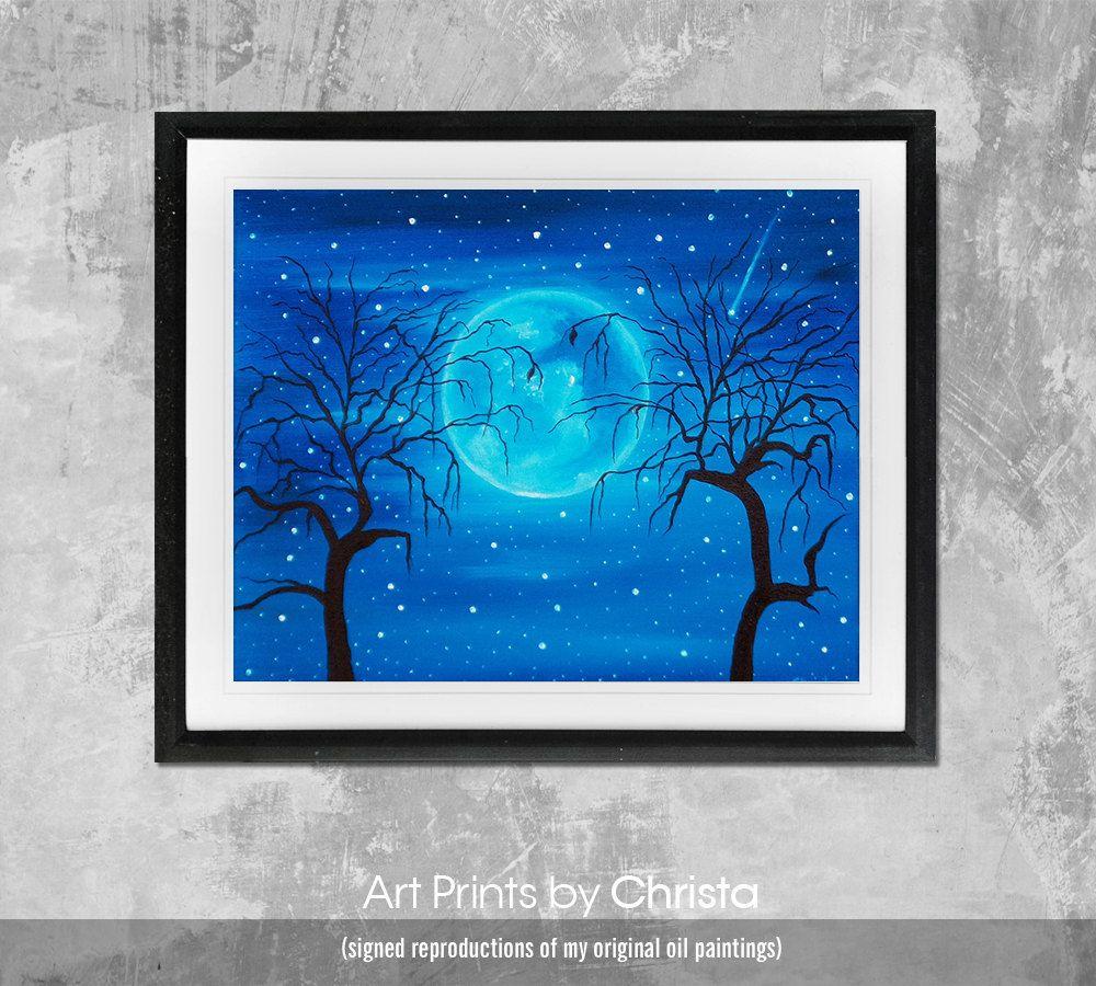 The moon print moonlight poster wall art moon painting moon driver