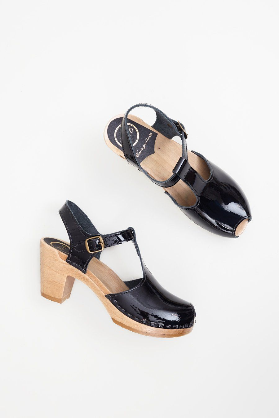 149776235f5 No.6 Caitlin T Strap Peep Toe Clog on High Heel in Black Patent ...