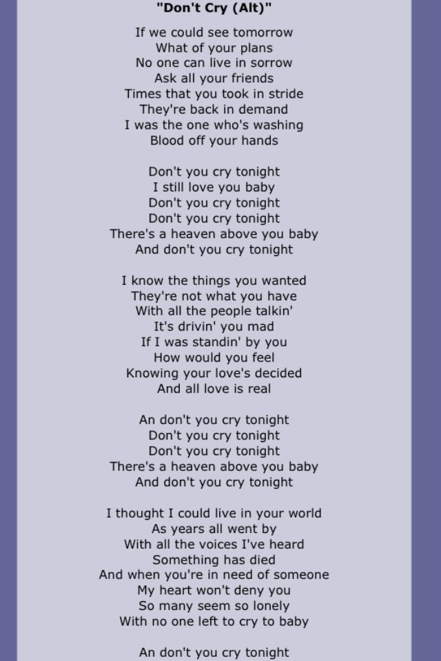 Lyrics all you have to do is cry
