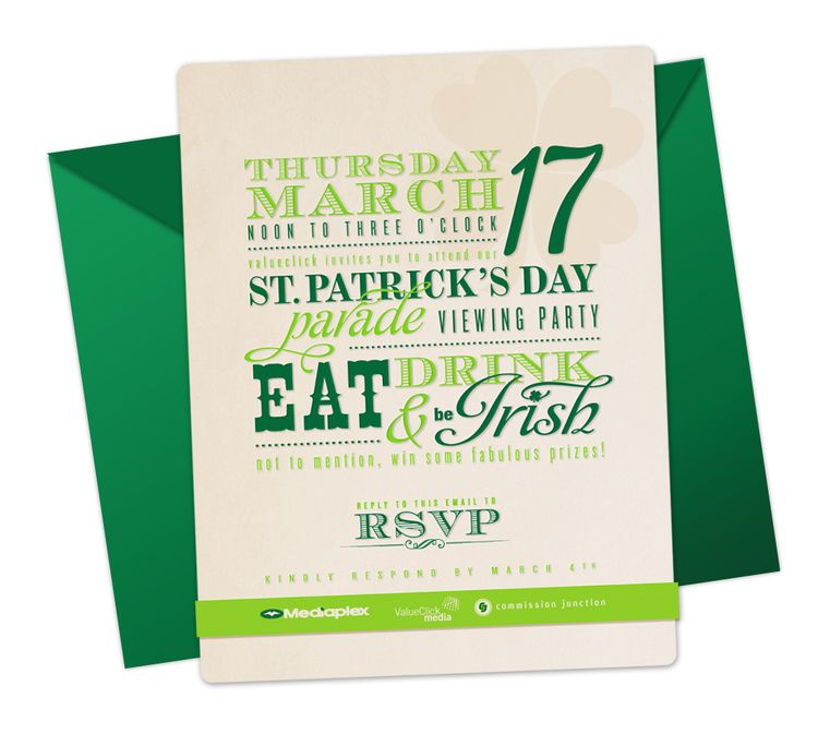 St. Patrick\'s Day Party Invitation Email   The Branding Room ...