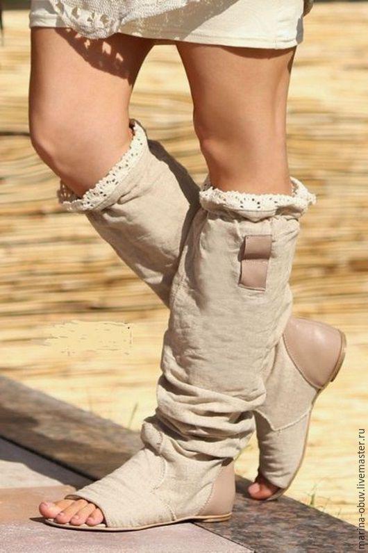 Обувь ручной работы. Ярмарка Мастеров - ручная работа. Купить Летние  открытые льняные сапоги на 812afdc82d4