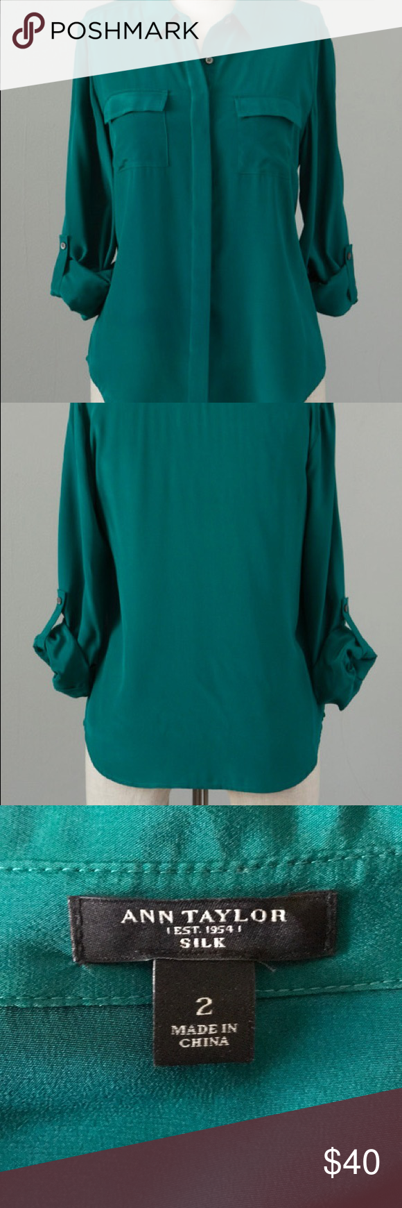 2ee195fcb7dfc Emerald green silk blouse Emerald green silk blouse with sleeves that roll  up or down. Can dress up any pant or jeans. Dry cleaned and ready to go. Ann  ...