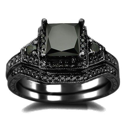 2 01ct Black Princess Cut Diamond Engagement Ring Wedding Set 14k Gold