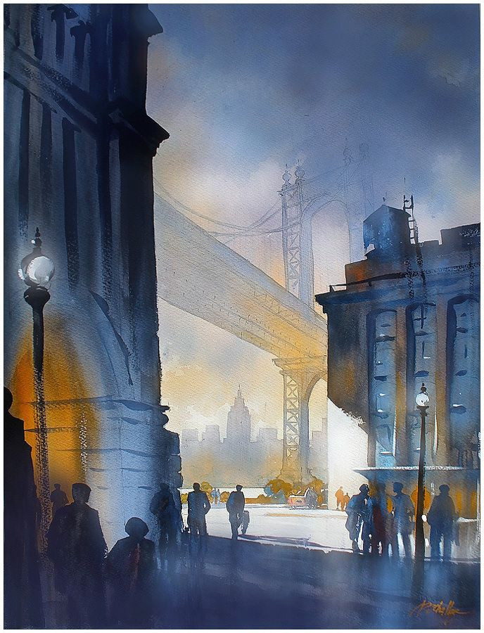 Brooklyn in Blue by Thomas W. Schaller Watercolor ~ 30 inches x 22 inches