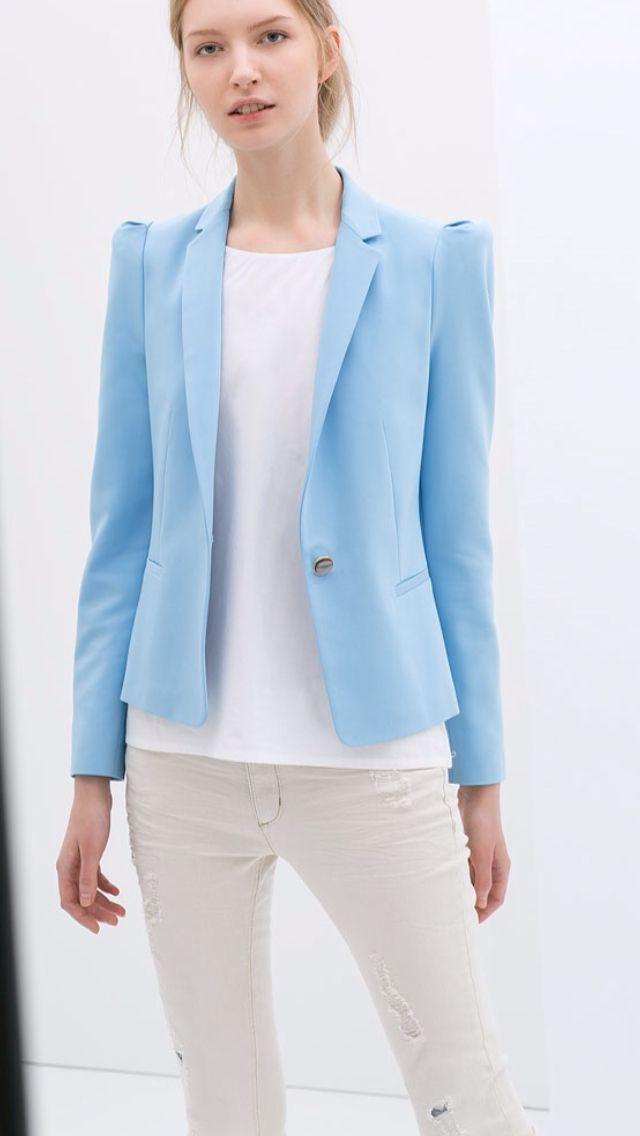 Zara Jacket In Light Blue Blue Blazer Women Blazer Outfits For Women Blazer Fashion