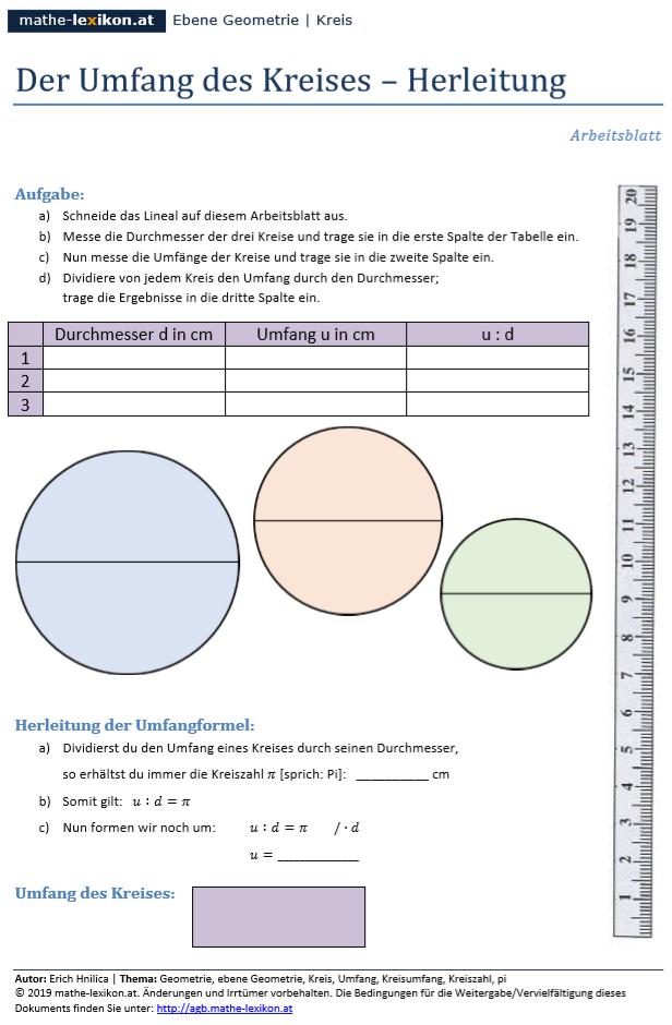 Arbeitsblatt Zur Herleitung Der Formel Zur Umfangberechnung Eines Kreises Messen Von Durchmessern Und Umfangen Von Kreisen Her Kreisumfang Kreis Formel Kreis