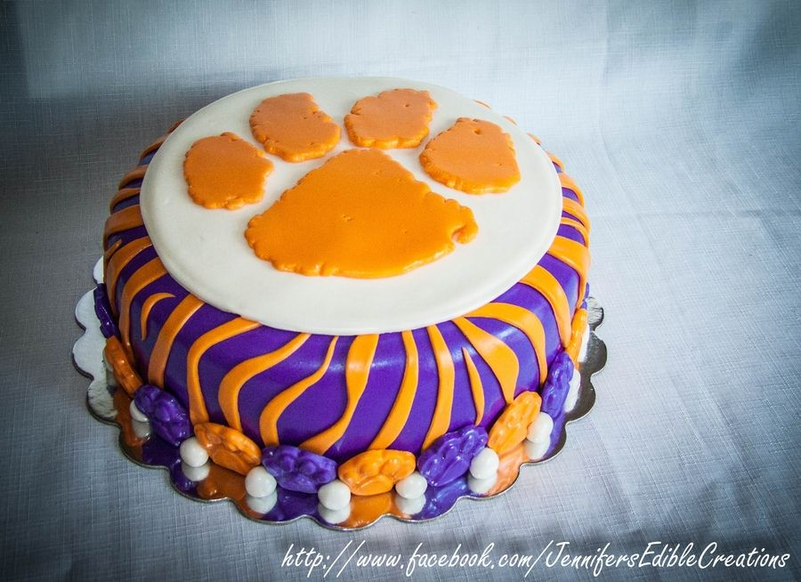 Peachy Clemson Tiger Cake With Images Tiger Cake Funny Birthday Cards Online Eattedamsfinfo