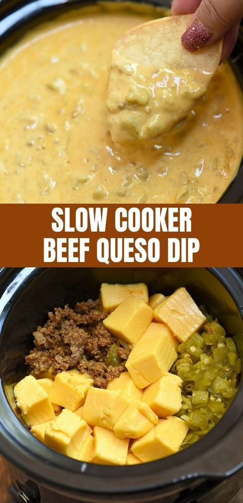 Slow Cooker Beef Queso Dip is easy to make with simple pantry ingredients and in the crockpot. Meat